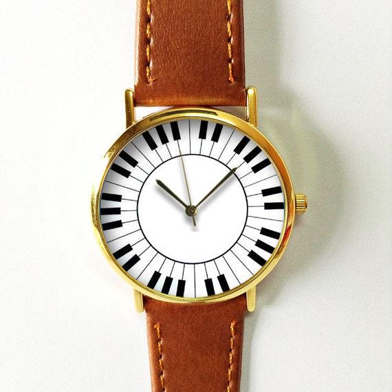 Piano Keyboard Keys Watch , Vintage Style Leather Watch, Women Watches,Mens Watch, Boyfriend Watch, Unisex