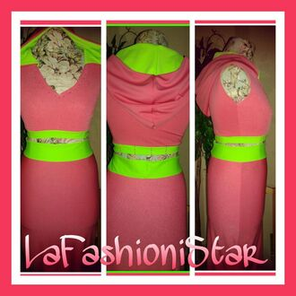 dress hooded crop top lafashionistar pink neon green black leather pencil skirt split top and shorts set custom made hoodie fashion blogger style boutique streetstyle instagram