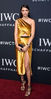 dress,gold,gold dress,adriana lima,midi dress,sandals,asymmetrical,one shoulder