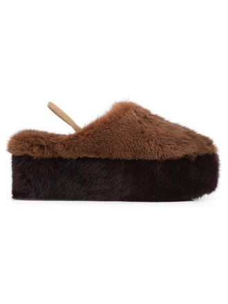 fur women mules leather brown shoes