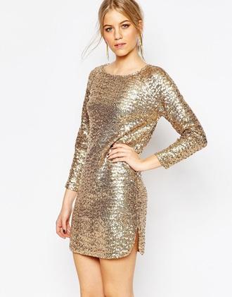 dress vero moda sequin dress long sleeve dress gold sequins