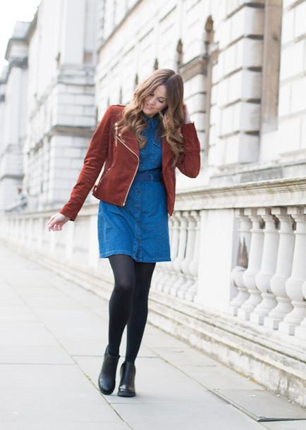 love of cloth blogger denim dress suede jacket jacket dress shoes