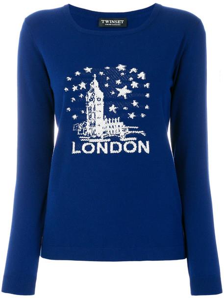 Twin-Set jumper women london cotton blue knit sweater
