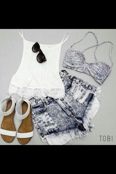 summer outfits white crop tops bikini top sandals ripped shorts shirt shoes