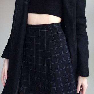 skirt black white black skirt cool coat long