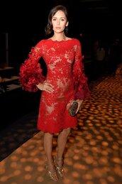 dress,red dress,lace dress,nina dobrev,NY Fashion Week 2016