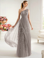 dress,silver silk chiffon dress for prom and wedding party,floor length and embelished appliques,one -shoulder