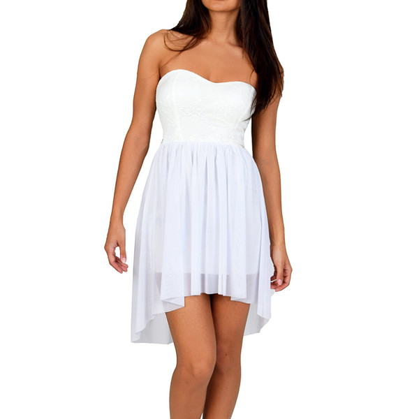 Strapless sweetheart ivory white dress