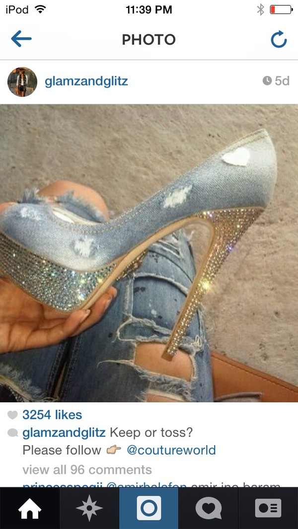 shoes jeans glamour heels on gasoline crystal shiny sparkle cool funny glitter
