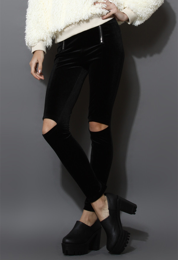 pants cut-out velvet leggings black