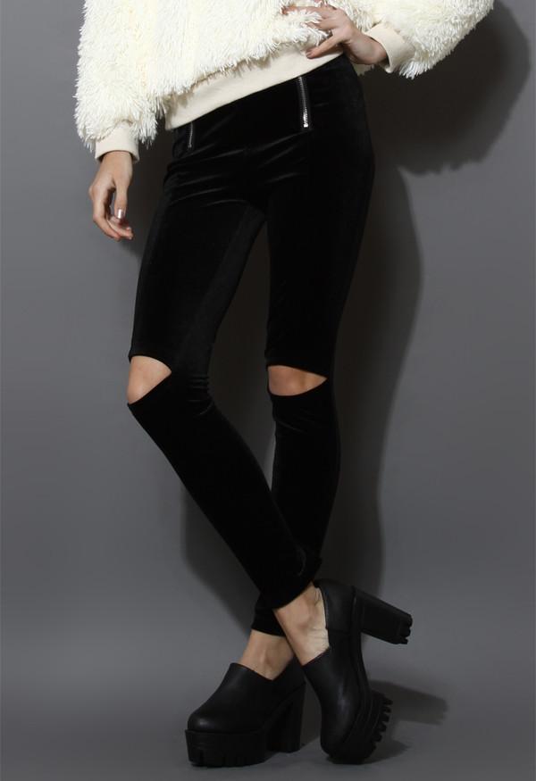 pants cut-out velvet leggings black