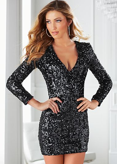 Black V-neck sequin dress from VENUS