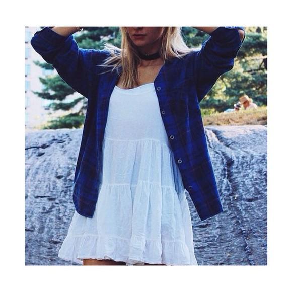 blue shirt blue flannel shirt brandy melville white white dress flannel fashion