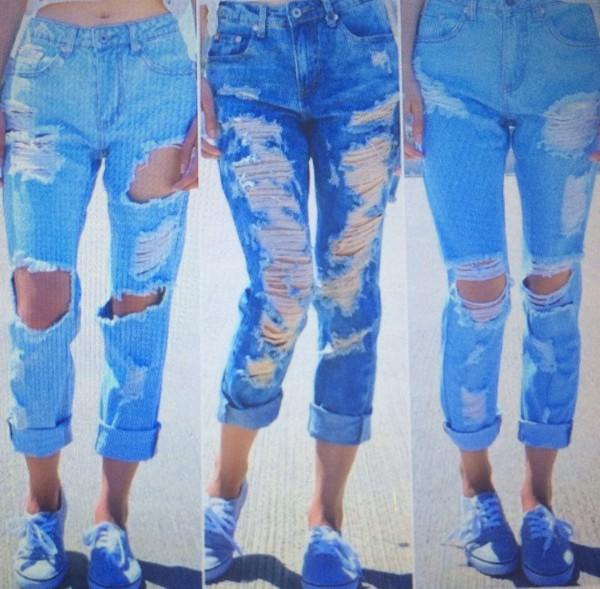 jeans boyfriend capris shredded
