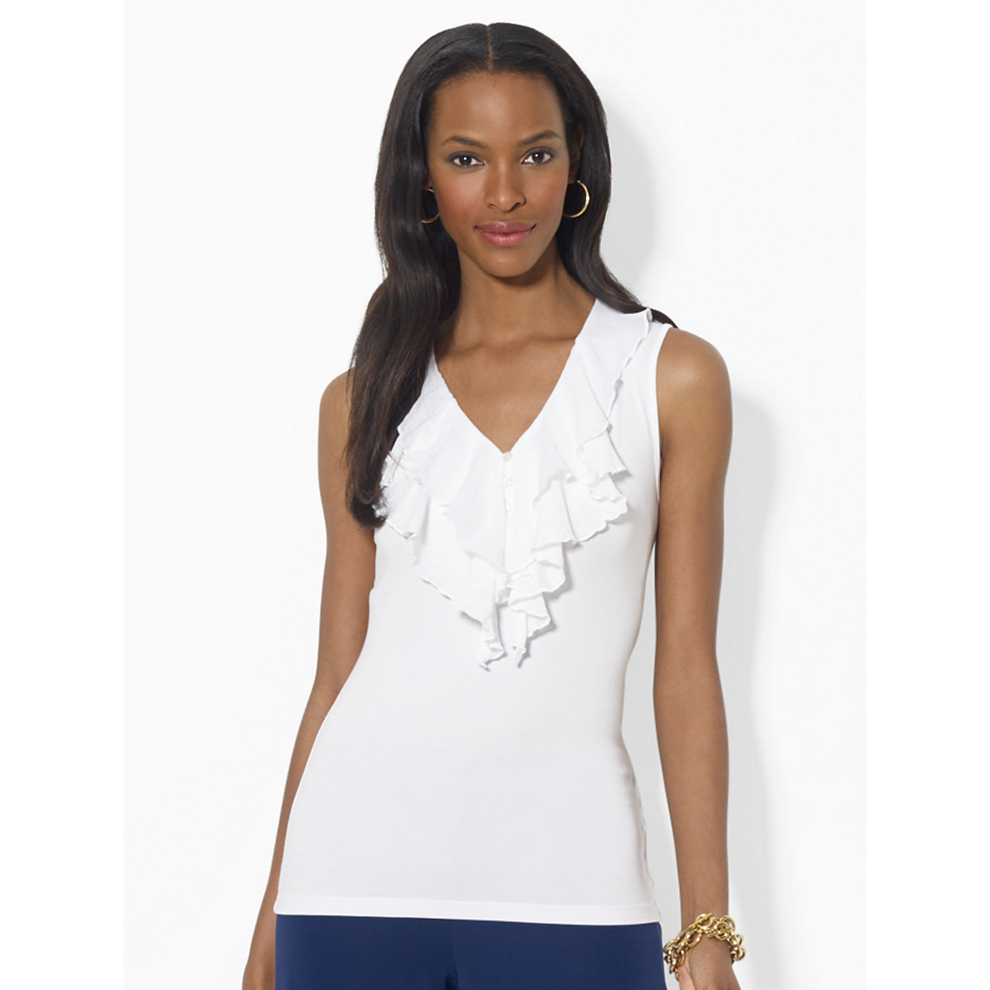 Buy Lauren Ralph Lauren Ruffled Top, White | John Lewis