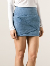 skirt,origami fold denim miniskirt,mini skirt,denim,balmain
