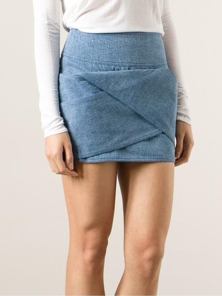 Skirt Origami Fold Denim Miniskirt Mini Skirt Denim Balmain