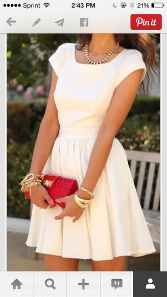 red bag dress cute dress white graduation dress