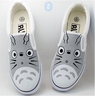 shoes vans anime grey flats cute kawaii fashion style totoro