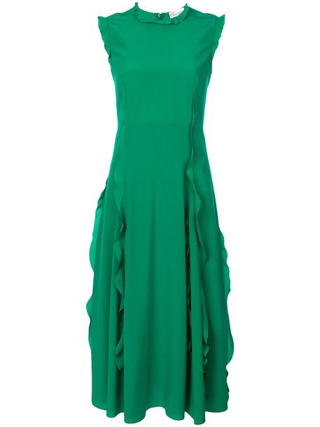 RED VALENTINO dress women silk green