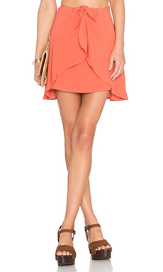For Love & Lemons Sweet Jane Wrap Skirt in Terracotta from Revolve.com