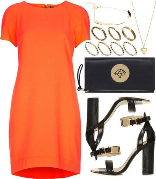 dress orange dress set polyvore