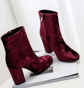 shoes,booties,ankle boots,velvet,crushed velvet style,burgundy,boots,cute