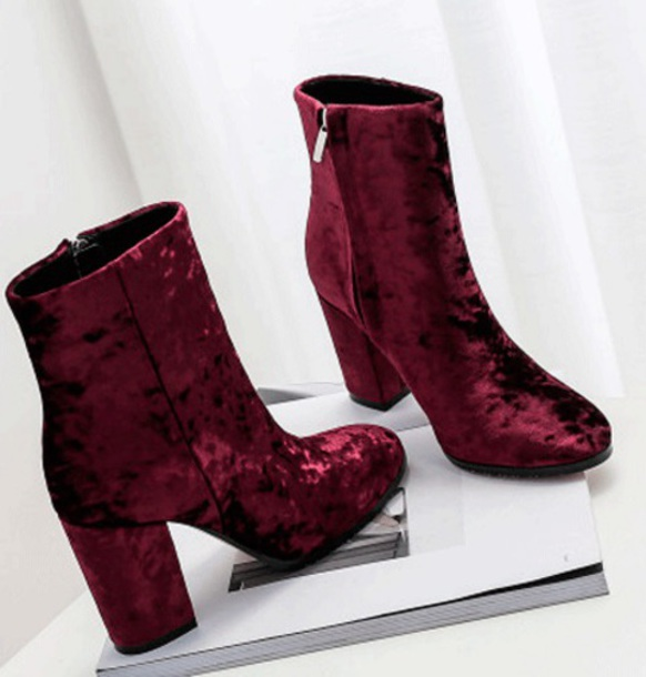 shoes booties ankle boots velvet crushed velvet style burgundy boots cute