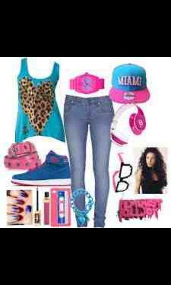 cheetah print shoes blouse beats by dr dre miami jeans hat sunglasses jewels
