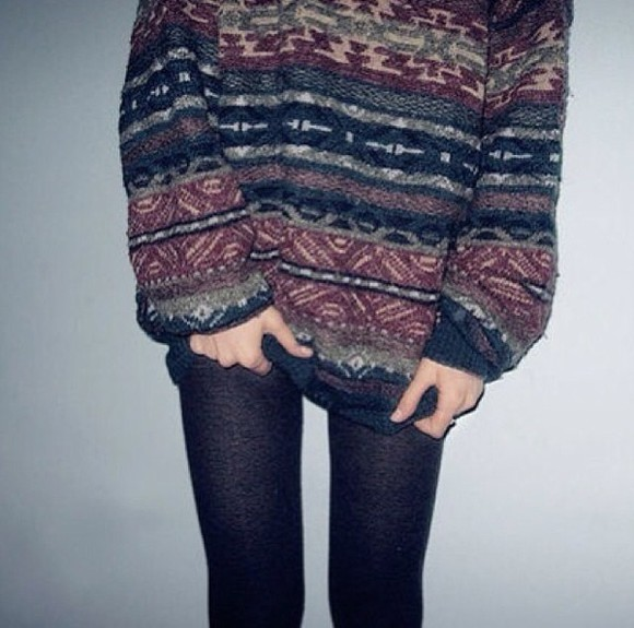 black leggings sweater aztec sweater aztec
