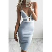 dress,grey,top,cage,open front,open back,white,blue,plunge neckline,bodycon dress,pastel blue,pastel,selfie