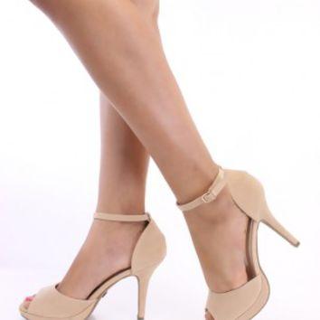 Nude Peep Toe Ankle Strap Heels Faux Suede on Wanelo