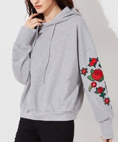 sweater,grey,grey sweater,hoodie,trendy,embroidered,floral