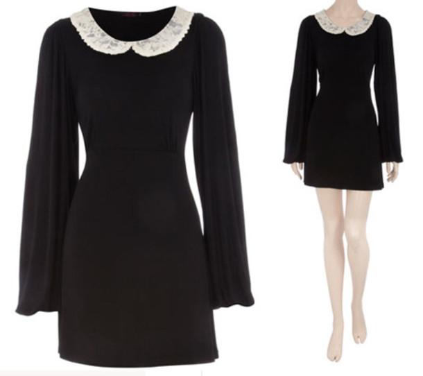 black dress peter pan collar dress