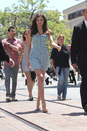 dress,the grove,miranda kerr,floral,floral dress,spring,spring 2013,girly,clasyy,lovely,summer dress,summer,high heels,open toes,zipper dress,baby blue,pastel blue dress
