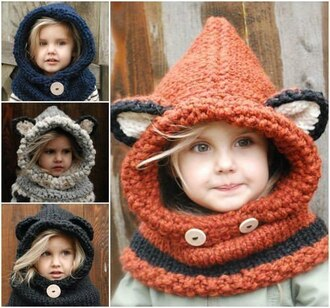 scarf kids fashion knitwear sweater knitted hoodie hand-knitted crochet hoodie hat