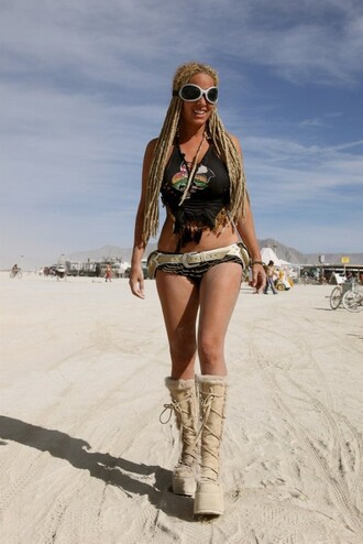 top burning man burning man costume burning man clothing crop tops black crop top boots nude boots sunglasses white sunglasses costume