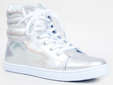 32a high top lace up hologram sneaker shoe: shoes