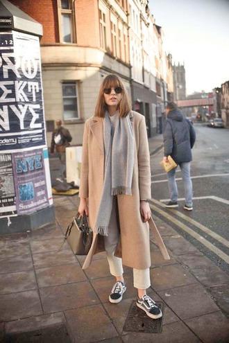 shoes vans vans outfits sneakers black sneakers coat camel camel coat camel long coat long coat scarf grey scarf sunglasses