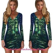 dress,green,sequins,shiney,mini,mini dress,party dress,party,long sleeves,v neck,occasion,fashion,style,sexy party dresses,cute