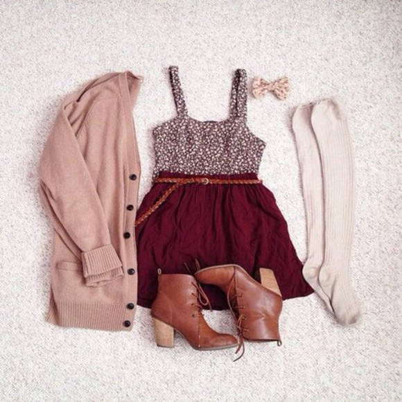 bows top skirt Belt boots cardigan