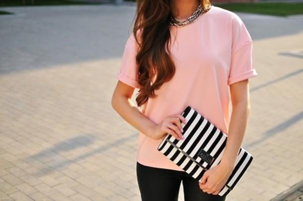 t-shirt bag stripes summer pants jewels black white