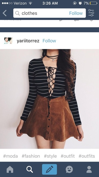 shirt cut out shirt tumblr suede skirt button up skirt brown skirt lace up top striped top