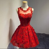 instagram,dress,red dress,red,flowers,party,party dress,barbie,homecoming dress,hair accessory,rojo,flores,flower red,see through dress,pretty,cute,prom,@helpme,drees