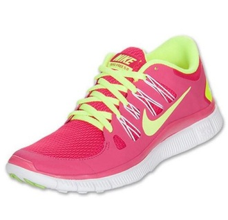 shoes nike nike running shoes pink yellow neon nike free run 5.0 nike free run
