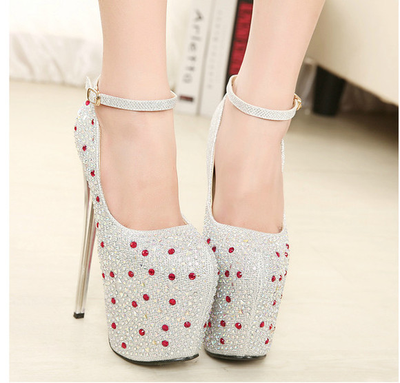 shoes pump high heels party stilettos fashion glitter glamor stiletto 19cm heeldiamantestrappy rhinestone platform pump heel nightclub evening glitter shoes silver shoes rhinestones