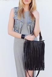 dress,grey,jean vest,fringed bag,maxi dress,slit dress