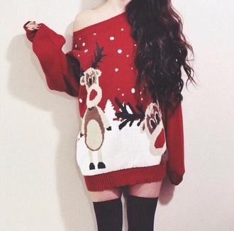 sweater red sweater red dress style sweater dress christmas sweater holiday dress holidays holiday season reindeer