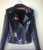 jacket,detail,flowered,embroidered,leather jacket,black,biker jacket