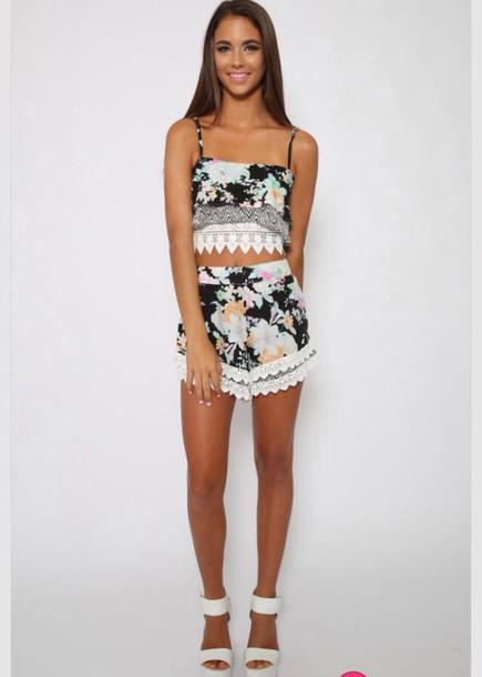 blouse summer dress romper romper crop tops printed shorts crochet crop top
